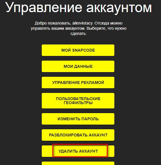 Удалить аккаунт в Снапчате через ПК